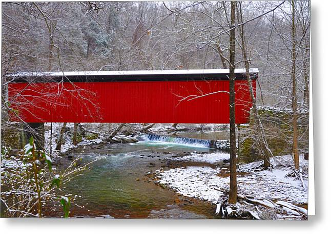 Stream Digital Art Greeting Cards - Covered Bridge Along the Wissahickon Creek Greeting Card by Bill Cannon