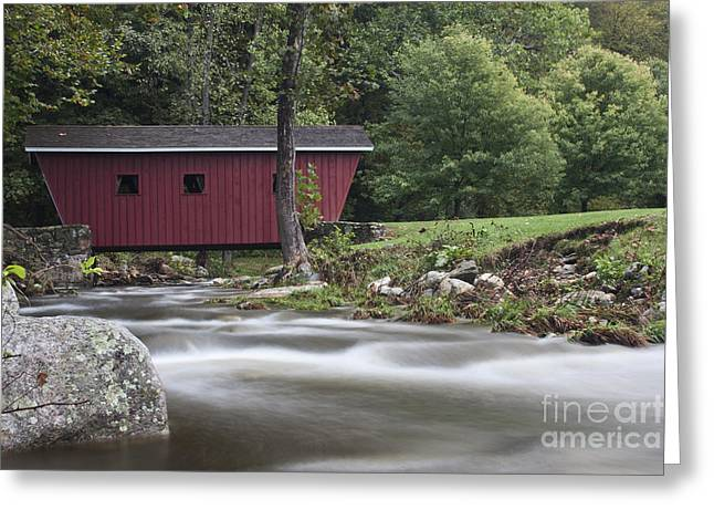 Stream Greeting Cards - Covered Bridge at Kent Falls State Park Greeting Card by Robert Wirth