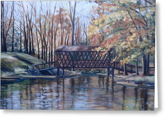 Covered Bridge Greeting Cards - Covered Bridge at Lake Roaming Rock Greeting Card by Donna Tuten