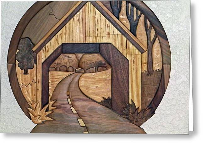 Covered Bridge Sculptures Greeting Cards - Covered Bridge Greeting Card by Bill Fugerer