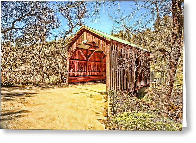 Wall Art For Your Home Greeting Cards - Covered Bridge Greeting Card by Cheryl Young
