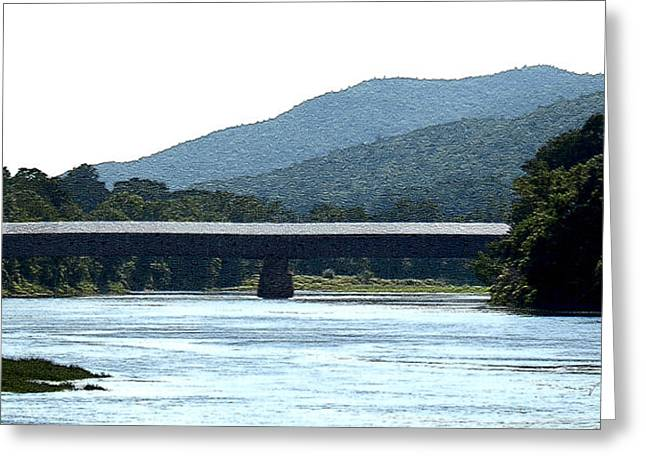 Connecticut Covered Bridge Greeting Cards - Covered Bridge CT River Greeting Card by Paul Gaj