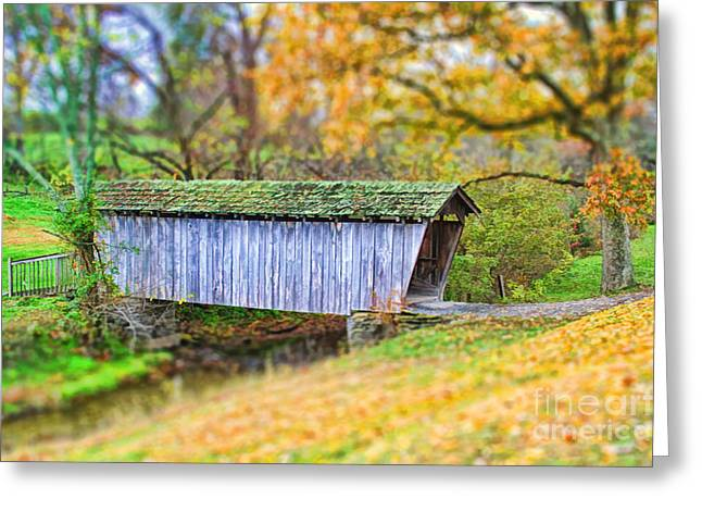 Red Rock Crossing Greeting Cards - Covered Bridge Greeting Card by Darren Fisher