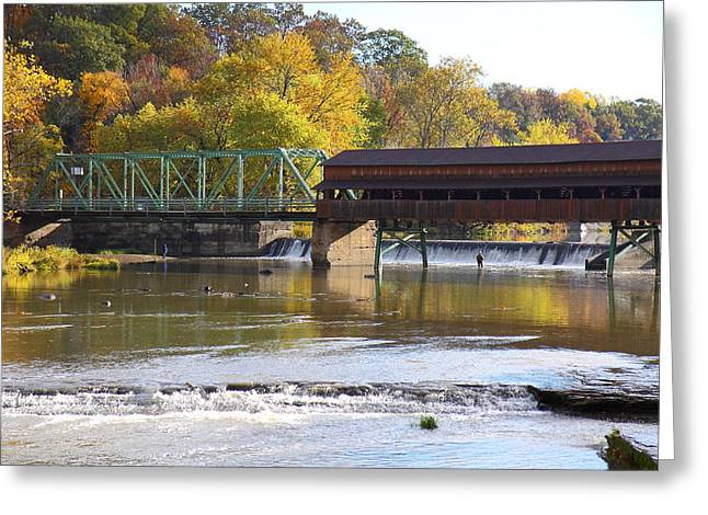 Kevin Schrader Greeting Cards - Covered Bridge Fishing Greeting Card by Kevin Schrader