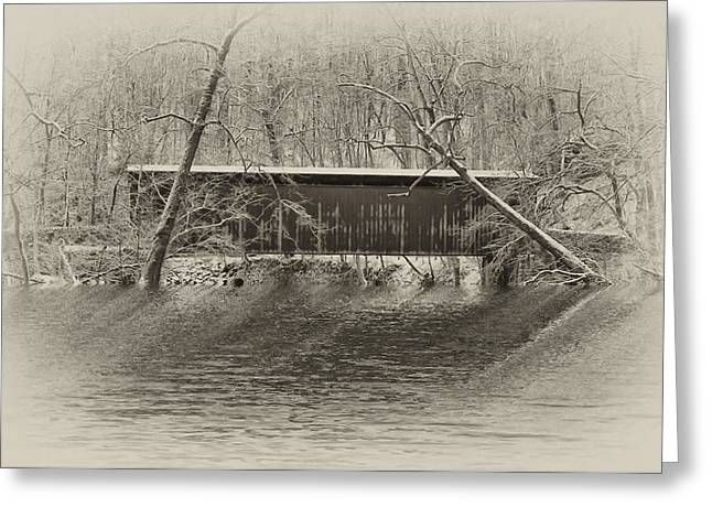 Flood Digital Art Greeting Cards - Covered Bridge in Black and White Greeting Card by Bill Cannon