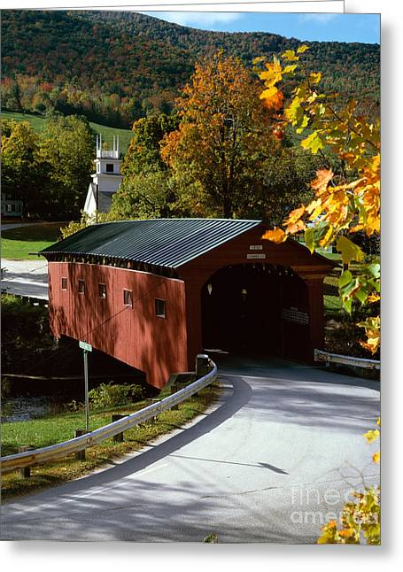 Arlington Greeting Cards - Covered Bridge in Vermont Greeting Card by Rafael Macia and Photo Researchers