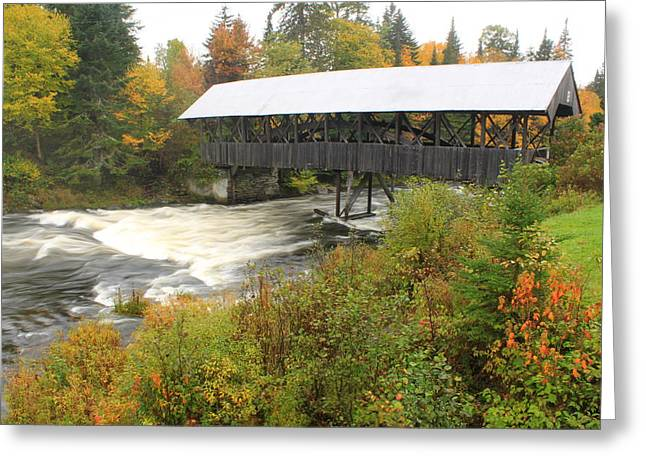 Connecticut Covered Bridge Greeting Cards - Covered Bridge over Connecticut River Pittsburg NH Greeting Card by John Burk