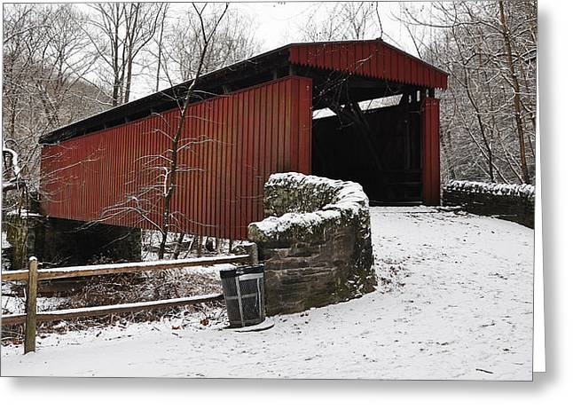 Covered Bridge Greeting Cards - Covered Bridge over the Wissahickon Creek Greeting Card by Bill Cannon