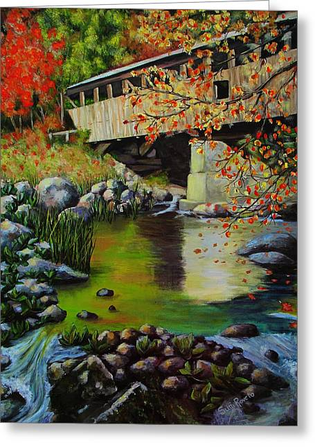 Covered Bridge Paintings Greeting Cards - Covered Bridge Greeting Card by Suni Roveto