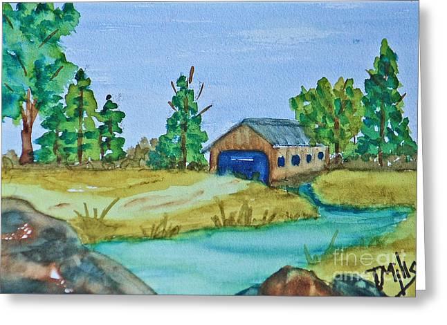 Terri Waters Paintings Greeting Cards - Covered Bridge Greeting Card by Terri Mills