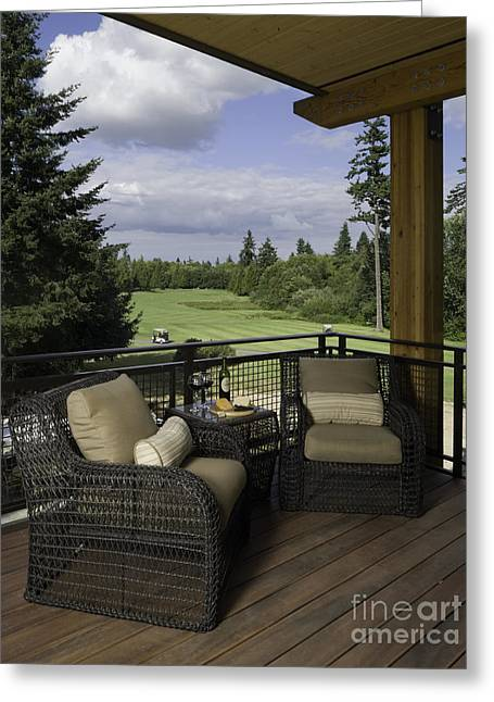 Lawn Chair Greeting Cards - Covered Deck Overlooking Golf Course Greeting Card by Robert Pisano