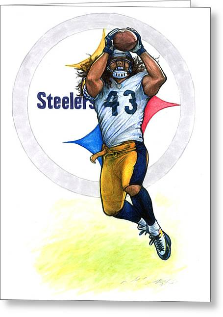 For Sale Drawings Greeting Cards - Polamalu  Greeting Card by Erik Schutzman