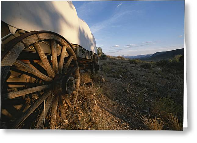 Conestoga Greeting Cards - Covered Wagon At Bar 10 Ranch Greeting Card by Todd Gipstein