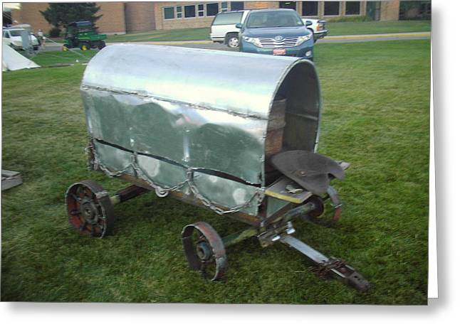 Steel Sculptures Greeting Cards - Covered Wagon Greeting Card by Hunter Quarterman