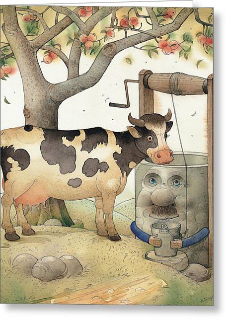 Apples Drawings Greeting Cards - Cow and Well Greeting Card by Kestutis Kasparavicius