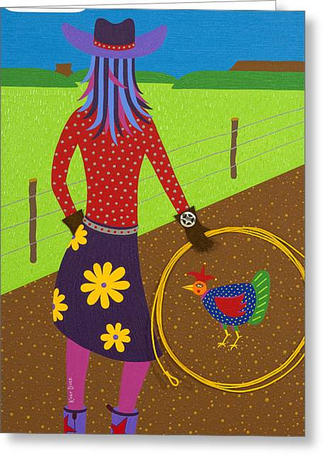 Cowgirl Skirt Greeting Cards - Cow Chick Greeting Card by Kort Duce