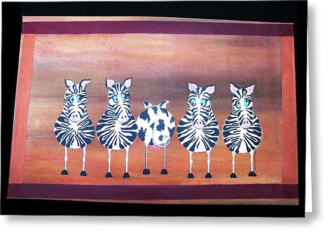 Stripe Tapestries - Textiles Greeting Cards - Cow Hide Greeting Card by Laurie Alpert