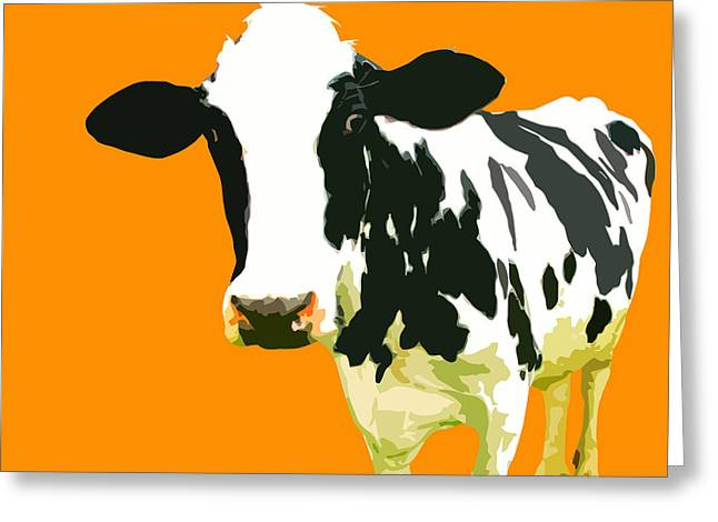 Warhol Greeting Cards - Cow in orange world Greeting Card by Peter Oconor