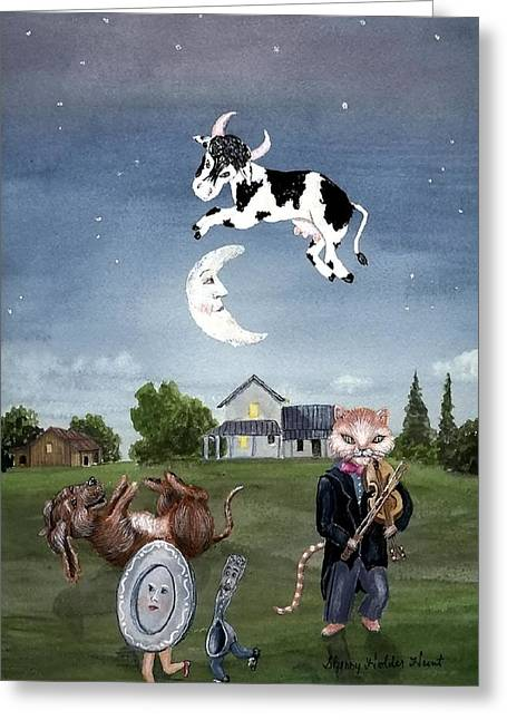 Nursery Rhymes Greeting Cards - Cow Jumped Over The Moon Greeting Card by Sherry Holder Hunt