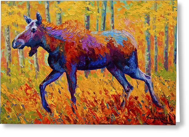Cow Moose Greeting Card by Marion Rose