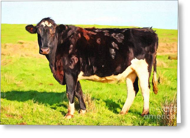 Cow Profile . Painterly Greeting Card by Wingsdomain Art and Photography