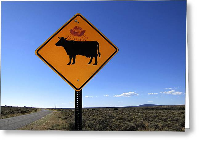 Funny Signs Greeting Cards - Cow UFO Road Sign  Greeting Card by Ann Powell