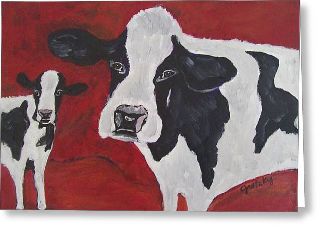 Recently Sold -  - Barn Yard Greeting Cards - Cowabunga Greeting Card by Paintings by Gretzky