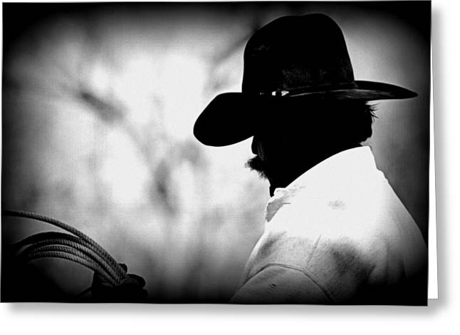 Cowboy Photographs Greeting Cards - Cowboy - Black and White Greeting Card by Tam Graff