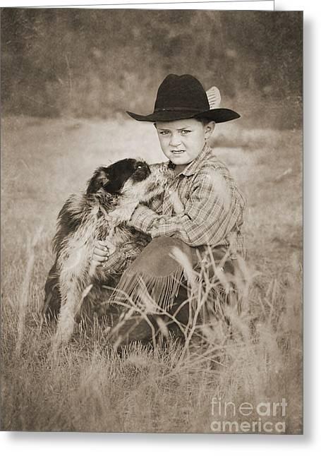 Little Boy Greeting Cards - Cowboy and Dog Greeting Card by Cindy Singleton