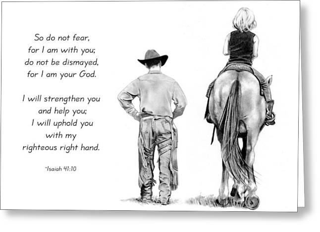 Isaiah Drawings Greeting Cards - Cowboy And Rider With Bible Verse Greeting Card by Joyce Geleynse