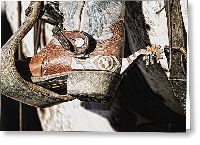Apparel Greeting Cards - Cowboy Boot Heel And Spur In Saddle Greeting Card by Carson Ganci