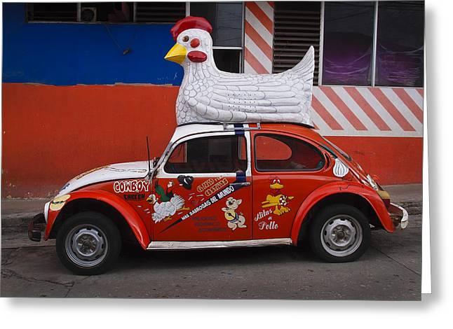 Cowboy Chicken Greeting Card by Skip Hunt