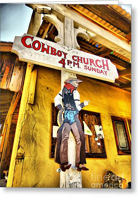 Funny Signs Greeting Cards - Cowboy Church Greeting Card by Cheryl Young