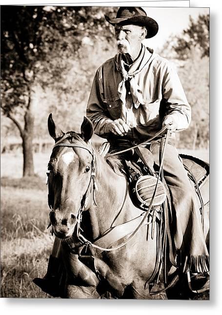 Cowboy Photographs Greeting Cards - Cowboy Claude Greeting Card by Toni Hopper