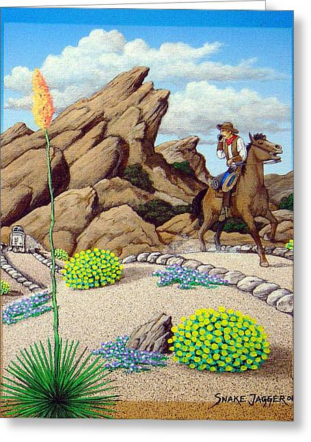 Scifi Paintings Greeting Cards - Cowboy Concerns Greeting Card by Snake Jagger