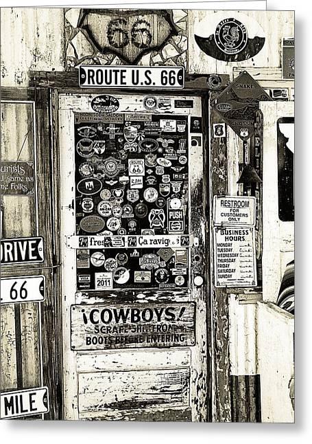 7up Sign Greeting Cards - Cowboy Door Greeting Card by Ron Regalado
