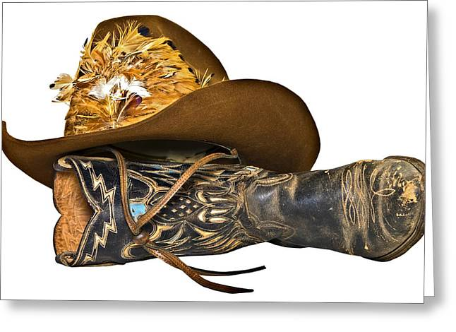 Susan Leggett Greeting Cards - Cowboy Hat and Boot Greeting Card by Susan Leggett