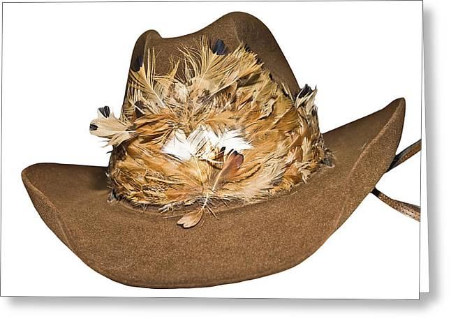 Susan Leggett Greeting Cards - Cowboy Hat with Feathers Greeting Card by Susan Leggett