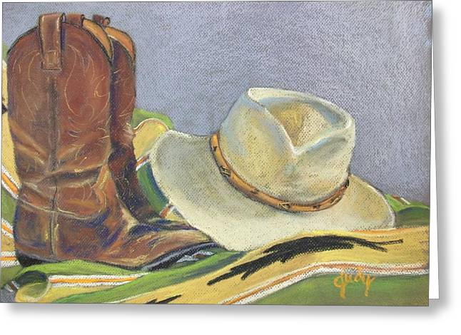 Boots Pastels Greeting Cards - Cowboy Life Greeting Card by Judy Pimperl