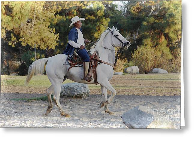 Riding Boots Digital Art Greeting Cards - Cowboy on his white horse Greeting Card by Nina Prommer