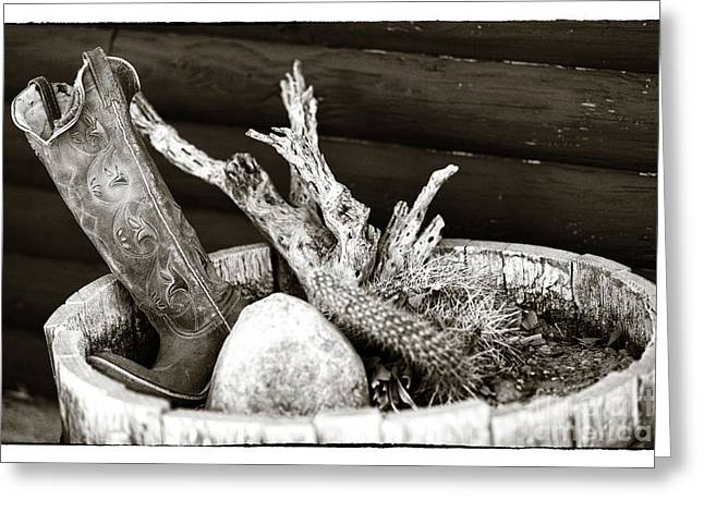 Contemporary Cowboy Gallery Greeting Cards - Cowboy Plant Greeting Card by John Rizzuto