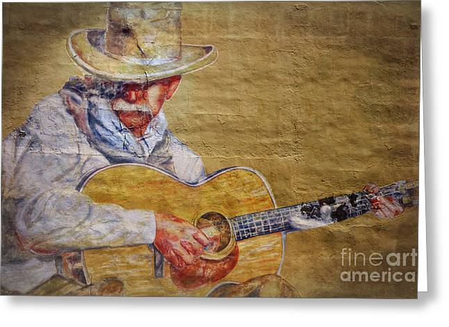 Strumming Greeting Cards - Cowboy Poet Greeting Card by Joan Carroll
