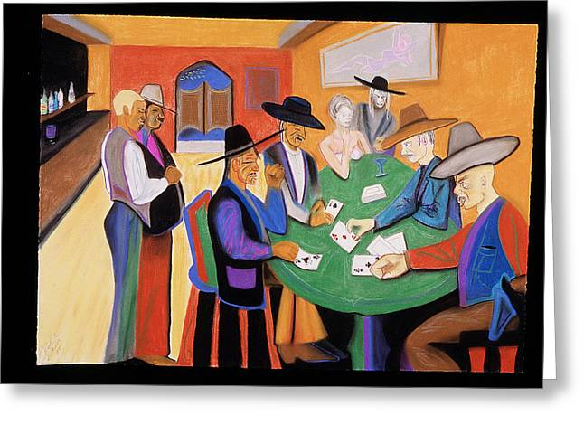 Movie Pastels Greeting Cards - Cowboy Poker Greeting Card by Rod  Grier