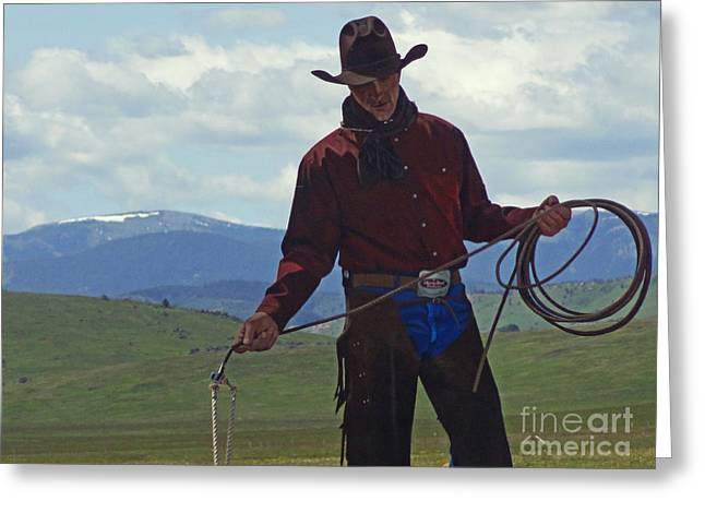 Alberta Posters Greeting Cards - Cowboy Poster Greeting Card by Al Bourassa