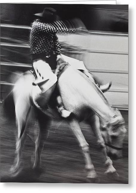 Broncos Greeting Cards - Cowboy riding bucking horse  Greeting Card by Garry Gay