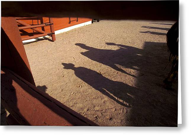 Carefree Cowboy Greeting Cards - Cowboy shadows and a Greeting Card by Raul Touzon