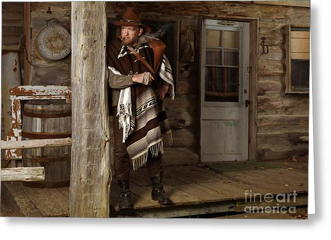 Outfit Greeting Cards - Cowboy Standing on a Porch Greeting Card by Oleksiy Maksymenko