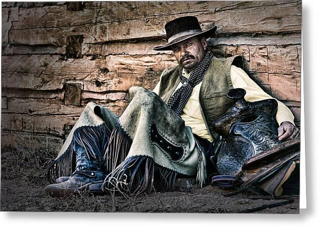 Cowboy Stare-Down Greeting Card by Janet Fikar