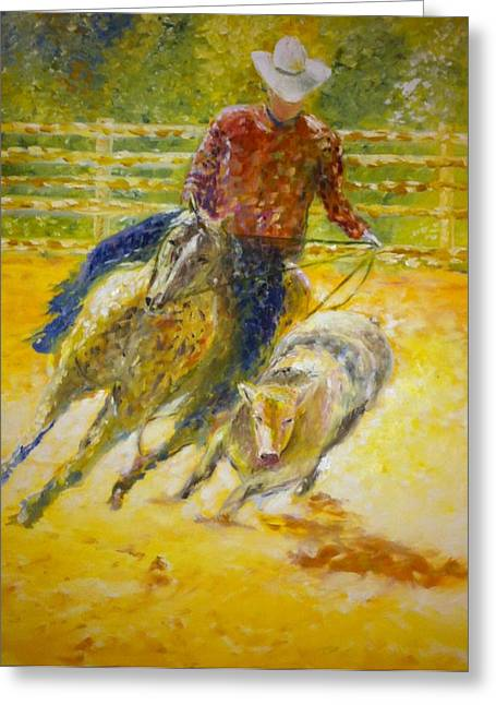 B Russo Greeting Cards - Cowboys Greeting Card by B Russo