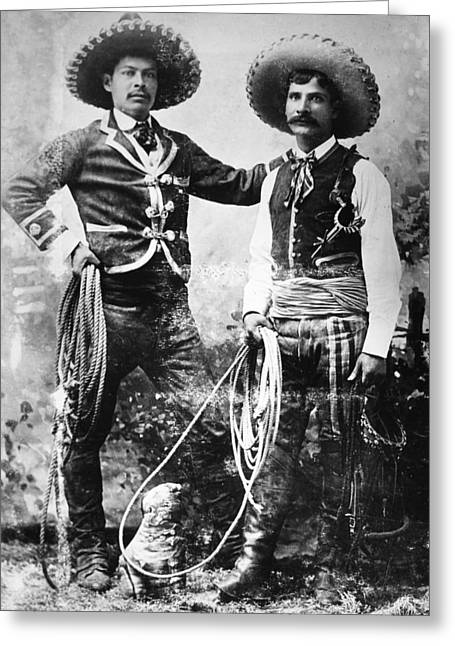 Mesoamerican Greeting Cards - COWBOYS, c1900 Greeting Card by Granger